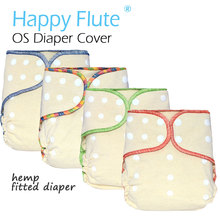 HappyFlute OS Hemp Fitted Cloth Diaper,AIO each diaper with a snap insert, high absorbency, fit baby 5-15kgs(China)