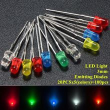 100pcs/lot 3mm LED Emitting Diodes Light Kit Round Top 5 Colors Diffused White Yellow Red Blue Green Assortment For DIY Lighting(China)