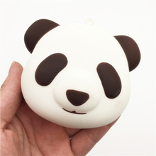 10Pcs/Lot Kawaii Panda Face Squishy Slow Rising Jumbo Bear Head Straps Chain Soft Cream Scented Bread Cake Kid Fun Toy Gift