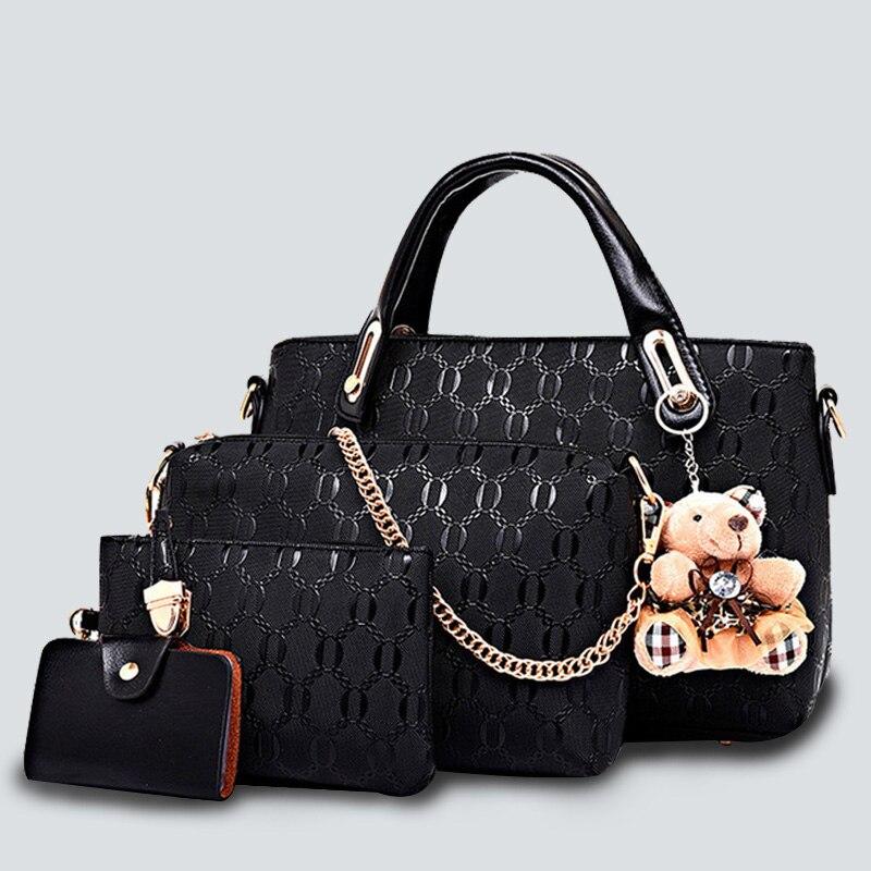 Emboss plaid bag set 4pcs luxury Women handbags Composite/Shoulder Bags 2017 PU leather Vintage Totes Bear Designer chains Bolsa<br>