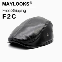 Maylooks Men Hat for Summer Genuine Leather Men's Cap Most Popular Cap/hat Fashion Men's Winter Cap Adult Striped Chapeu  CS19
