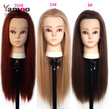 Training Mannequin Head With Hair 65cm Synthetic Fiber Cosmetology Hairdressing training head Dolls nice color Heads Hairstyles(China)