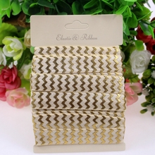 "10yards 5/8"" gold chevron foe fold over elastic 815 cream retailed packing for DIY(China)"