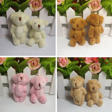 "12pcs x 6cm(2.4"") Plush Long Wool Miniature Tiny Small Jointed Bunny Rabbit Bear Dolls House Craft"