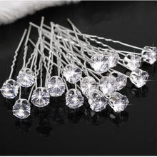 20pcs Clear Crystal Rhinestone Dimante Hair Pins Clips Wedding Bridal Bridesmaid Hairpins Women Hair Jewelry Accessories