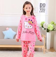 Children's Pajamas Autumn Winter Fund Girl Boys Long Sleeve Flannel Coral Down Kids Garment Sleepwear Home Furnishing Serve RT7(China)