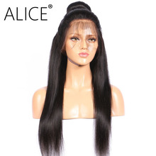 ALICE 250 Density Full Lace Wig Pre Plucked Bleached Knots 8-22 Inch Brazilian Virgin Human Hair Straight Wigs For Black Women(China)