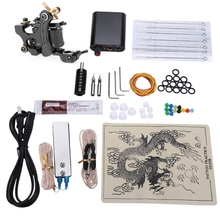 Complete Tattoo Kits 8 Wrap Coils Guns Machine Power Supply Disposable Needle Choosing The Power Cable(China)