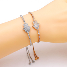 2017 New Design Hand of God Pave Setting Cubic Zirconia khamsah Bracelet For Girls in Gold or Silver Color(China)