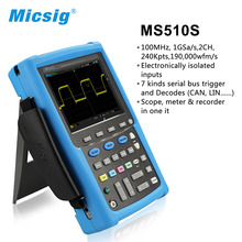 Micsig digital handheld oscilloscope 100mhz 2 channel scopemeter oscilloscope Automotive touchscreen oscilloscope portable MS510