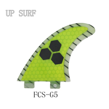 (3 pieces/lot) UPSURF FCS G5 Surfing Fins Honey Comb Flat Foil Fiberglass Carbon Yellow Surfboard Fin Surf Fins 2017 New Fin