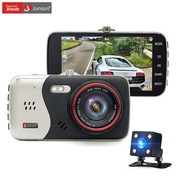 Junsun dash cam cámara del coche dvr hd 1080 p dual lente video recorder visión nocturna aparcamiento monitor de cámara de auto motion detección