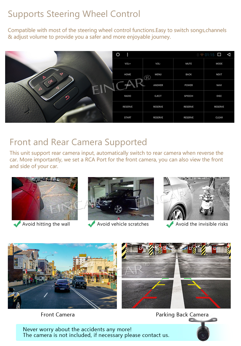 Android 7.1 Car Stereo 2 Din GPS Navigation Radio Bluetooth Head Unit Support Phone Mirroring Car NO DVD Player Wireless camera