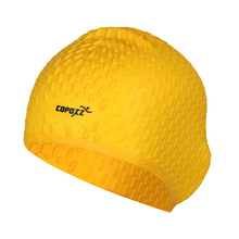 COPOZZ Silicon Swimming Hat Cover Protect Ear Long Hair Waterdrop Swimming Caps(yellow)