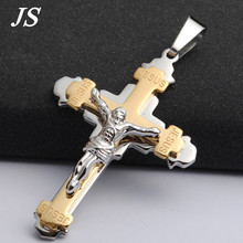 "JS 3.15"" Long Charm Jesus Christ Cross Pendant Vintage Titanium Crucifix Bible Lords Prayer Necklace Rock Male Jewelry CN010(China)"