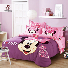 ParkShin Mickey Mouse Bedding Set Cartoon Kids Favorite Home Textiles Pink and Purple Bedclothes Twin Queen Size 3pcs/4pcs