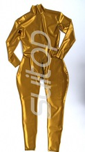 Buy Suitop nature Gold latex catsuit rubber bodysuit gloves back zip front zip provide custom made