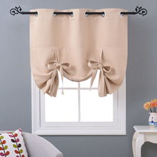 NICETOWN Solid Color Thermal Insulated Adjustable Tie up Shade Grommet Blackout Curtain Modern  Kitchen Window Curtain