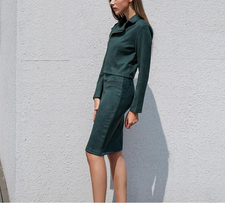 Fashionable Women's Suits Autumn-Winter Green Suede 2-piece with Long Sleeve Zipper Top Pencil Skirt Casual Dress Kits female