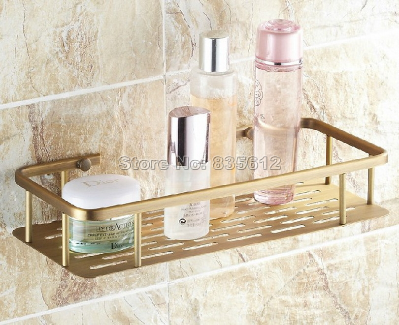 300mm Antique Brass Wall Mounted Single Tier Soap / Sponge Shower Storage Basket / Bathroom Accessory Wba107<br>