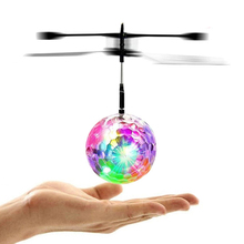 Funny RC Mini Flying Ball with Intelligent Sensor+ Football/Soccer  Flashing 6LED Light for Children Playing Toys Kid(China)