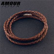 AMOURJOUX Braided Brown/White/Black Genuine Leather 93cm Bracelets For Women Men Fashion Adjustable Length Link Chain Bracelet(China)