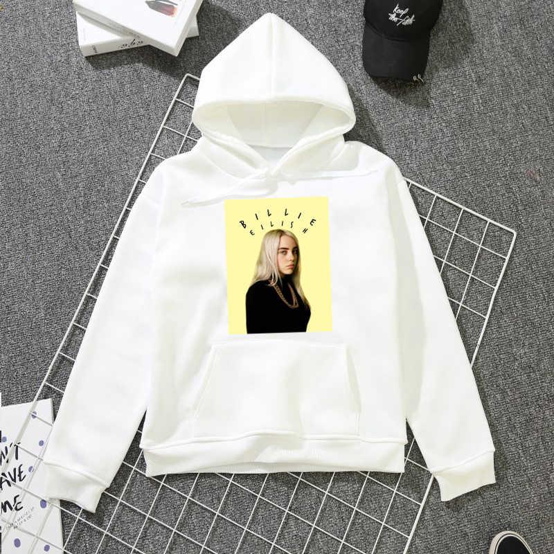 f717ce0850 Billie Eilish 2019 Streetwear kobiety koszulki z długim rękawem swetry  ubrania wiosna druku z kapturem dziewczyny