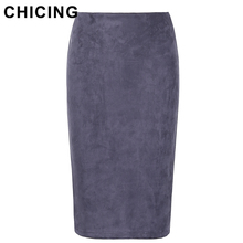 CHICING 2017 Women Suede Multi Color Pencil Midi Skirt Female Autumn Winter Basic Tube Bodycon Skirts Saia Femininas A1609022