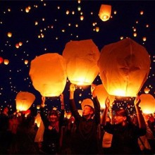 5pcs 14inch Multicolor Paper Chinese Lanterns Fire Sky Flying Paper Candle Wish Lamp for Birthday Wish Party Supplies
