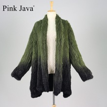 pink java QC9460 new fashion real rabbit fur knitted gradient coats OEM retail wholesale
