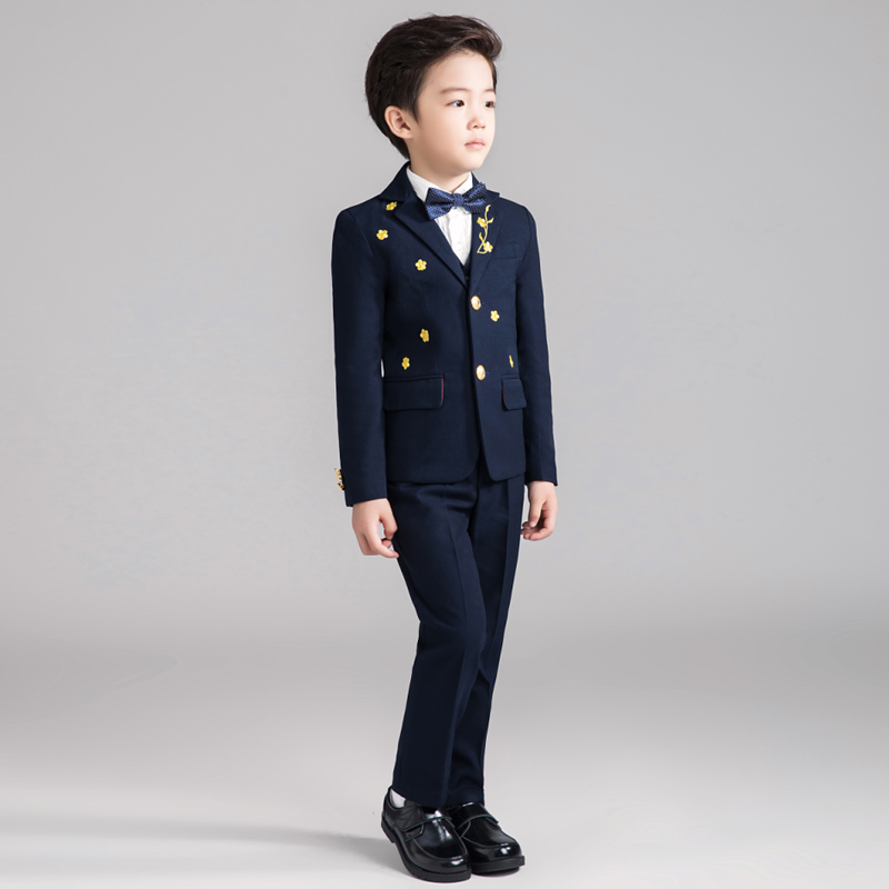 Children's small suit boy suit 5 piece jacket + pants + inch shirt + vest + bow tie flower girl dress suit jacket spring new