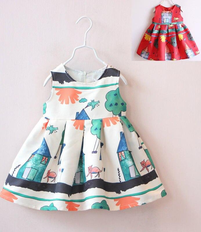 New 2015 children clothing girls Cat and bird patteren dress kids girls korean children clothing summer clothes free shipping<br><br>Aliexpress