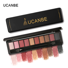 UCANBE Brand 10 Color Shimmer Matte Eyeshadow Makeup Palette Long Lasting Waterproof Nude Eye Shadow Make Up With Brush Cosmetic(China)