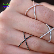 Super Fashion Everyday Criss Cross Cubic Zirconia Ring For Women X Cross Ring Bijoux Top Quality