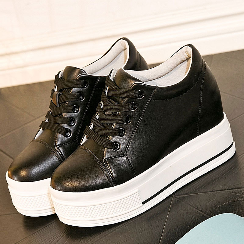 Women Genuine Leather Casual Shoes Height Increasing Platform Shoes Flats Lace Up Trainers Zapatillas Deportivas Mujer XK120802<br>