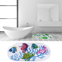 Cartoon Anti-slip PVC Bath Mat Bathroom Safety Carpet Shower Floor Cushion Rug with Suction Cups Seaworld Turtle For Bathroom