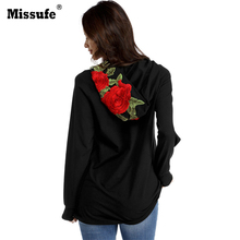 Missufe Autumn New Hooded Sweatshirts 2017 Casual Rose Flower Embroidery Long Sleeve Women Sweatshirts Beach Party Women Tops(China)