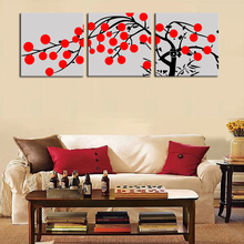 3 Pieces Wall Painting Abstract Artwork Red Flower Black Tree Landscape Modern HomeDecor Wall Canvas Print Painting(China)
