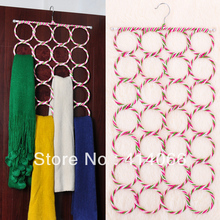 FREE SHIPPING 1piece/lot Creative Home High Quality Recycled paper Rattan hanger 28 laps Scarf Rack(China)