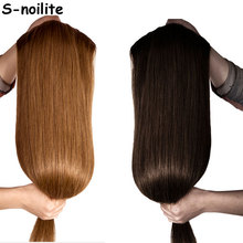 S-noilite 18-30 inches Clip in Hair Extensions 3/4 Full Head 5 Clips ins Straight Synthetic Salon hairpiece Black brown Blonde