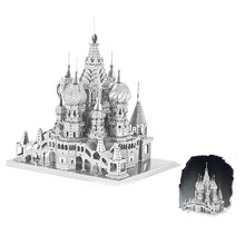 Mini 3D DIY Puzzles Metal St. Basil's Cathedral Model Craft Stainless Steel Military Building Kits For Toys Gifts