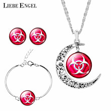 LIEBE ENGEL Danger Sign Jewelry Sets Earrings Bracelet Moon Statement Necklace Sets Vintage Silver Color For Women Gifts 2017