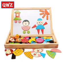 Multifunctional Wooden Toys Educational Magnetic Puzzle Children Jigsaw Puzzle Toys Baby Drawing Easel Board For Kids Gifts(China)