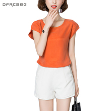 High Quality Summer Autumn Tops Loose Casual Shirts Women Solid Smooth Silk Satin Blouses Vintage Blusas O-Neck Hot Camisa Mujer(China)