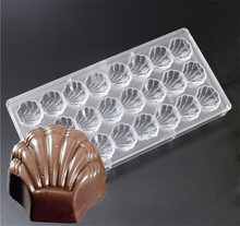 1PC 24 cavities shell shaped Hard Polycarbonate(PC) Chocolate Mould PC Candy Pasta Tool Injection PC Cake Mold