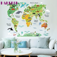 KAKUDER Top grand  news colorful world map wall stickers living room home decorations pvc decal mural office kids room wall art
