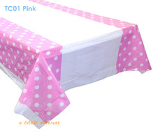 "Size108x180cm(70""x43"") Classic Pink Polka Dolt Tablecloth Table Cover For Baby Girl's Birthday Party Decoration"