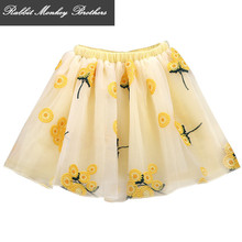 RMBkids Children's skirt Girls yarn skirt Tutu Embroidered princess flower skirt 4 color for  5 6 12 13 14 years old girl