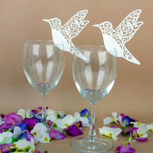 TAOS 50 PCS Hollow Bird Wedding Ceremony Party Table Wine Glass Number Name Place Card Wedding Party Christmas Decoration White(China)