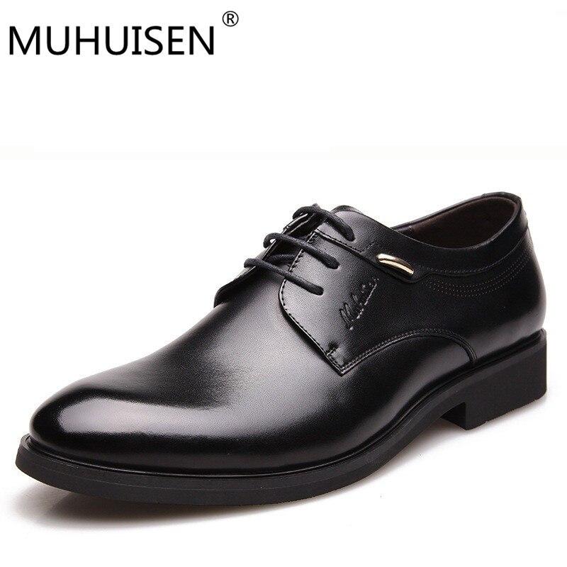 MUHUISEN Fashion Italian designer formal mens dress shoes genuine leather black luxury wedding male shoes office 38-44 eur